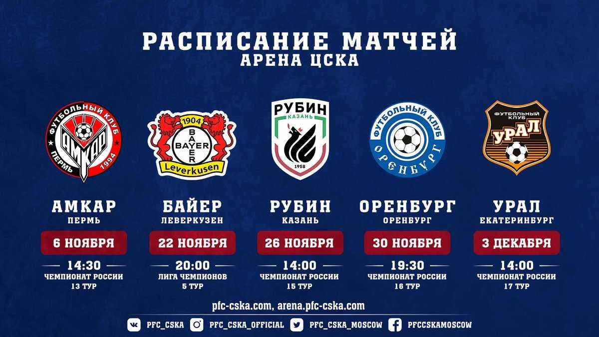 Расписание матчей ЦСКА