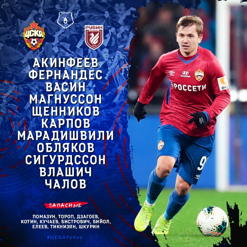 Состав ПФК ЦСКА на Рубин